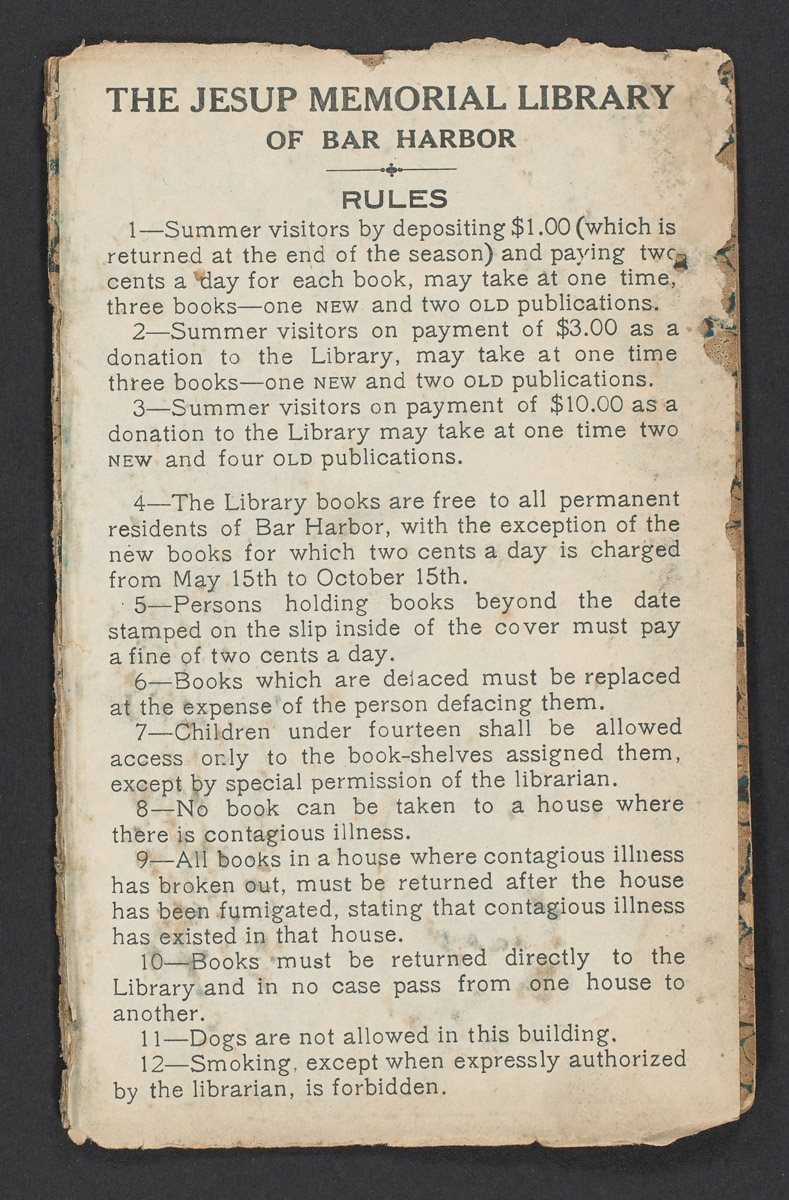The Jesup Memorial Library of Bar Harbor Rules Card