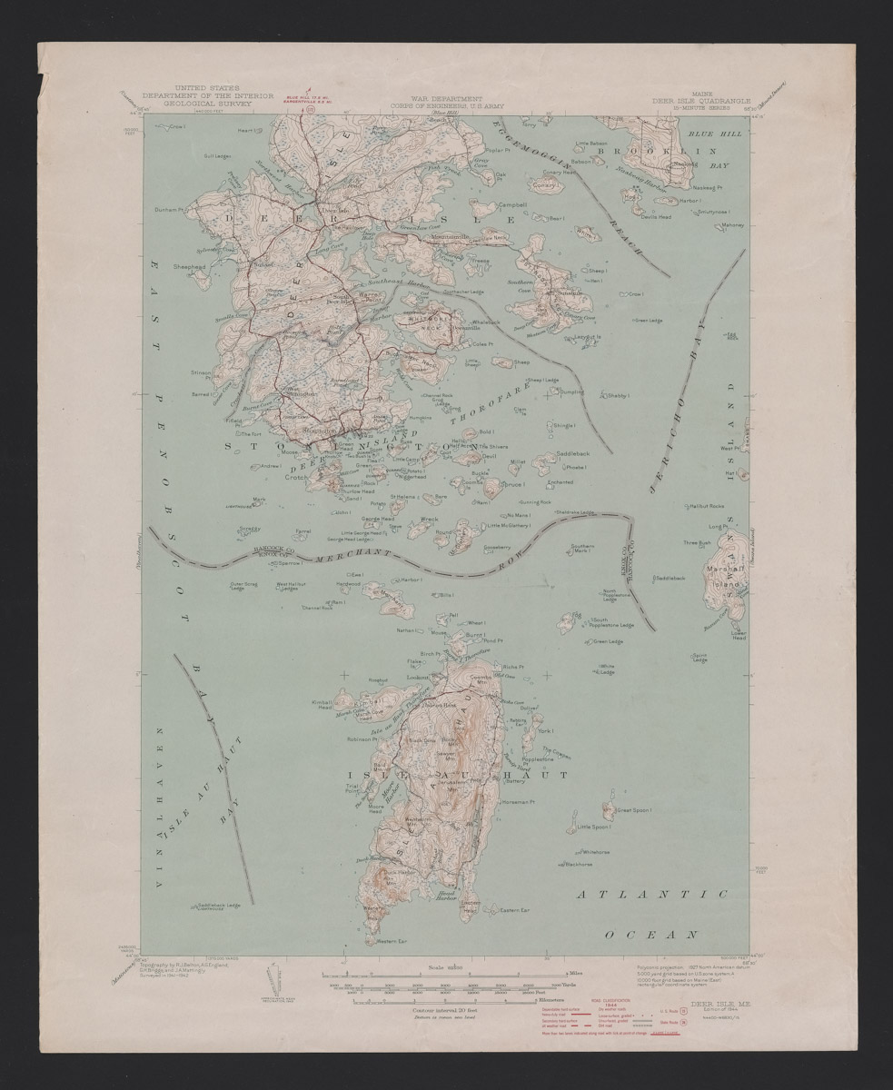Deer Isle Quadrangle Topographical Map, 1944