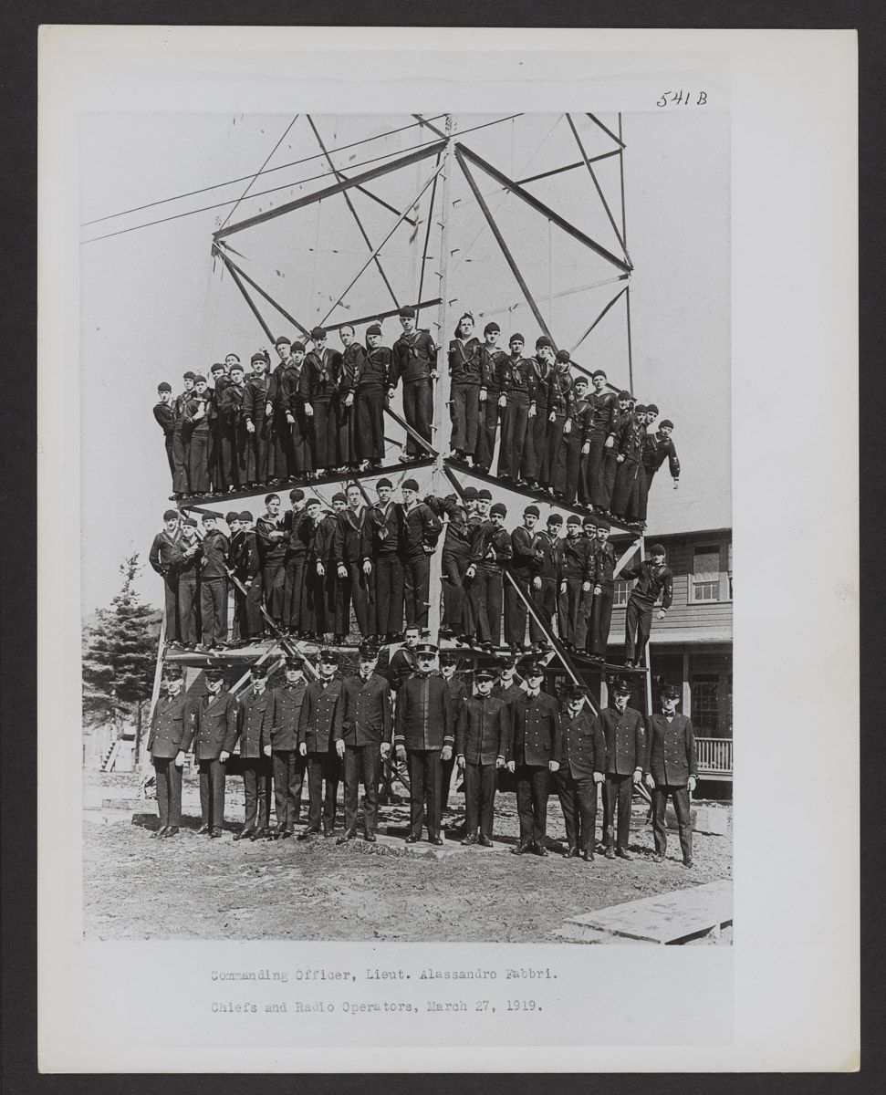 Otter Cliffs Radio Station Officers on Tower Print, March 27, 1919