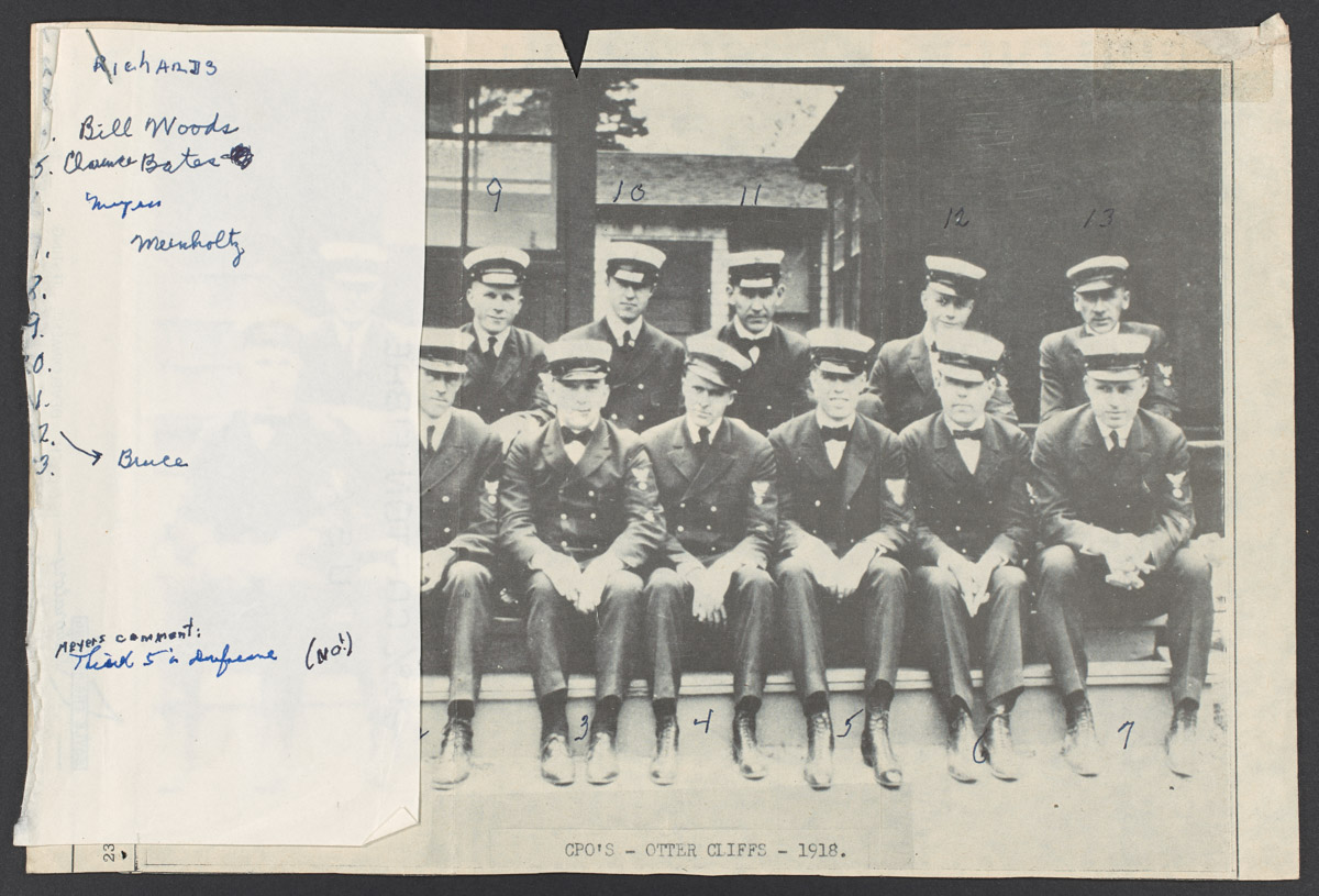 CPOs at Otter Cliffs in 1918 Newspaper Clipping, June 20, 1975